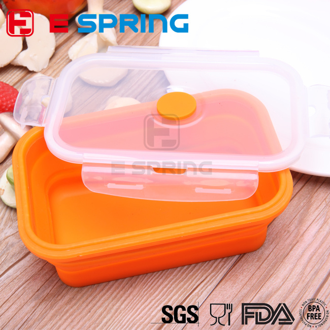 100% Food Grade Silicon Collapsible Food Container Silicone Lunch Box
