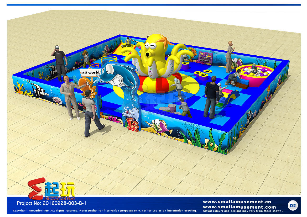 Ocean Themed Todder Indoor Playground Equipment with Inflatable