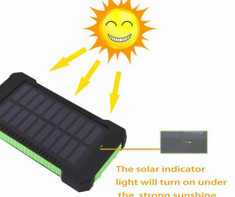 Waterproof Portable Charger Power Bank, Solar Power Bank Battery Solar Charger