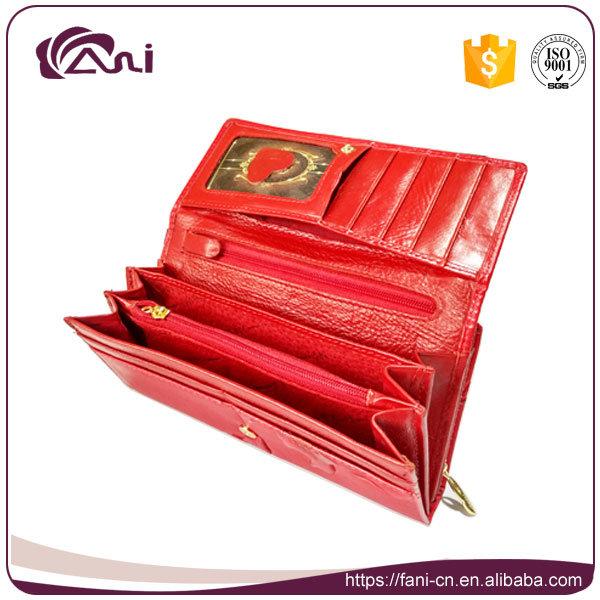 Metal Clutch Frames Purse, PU Leather Red Long Embossed Women Wallet