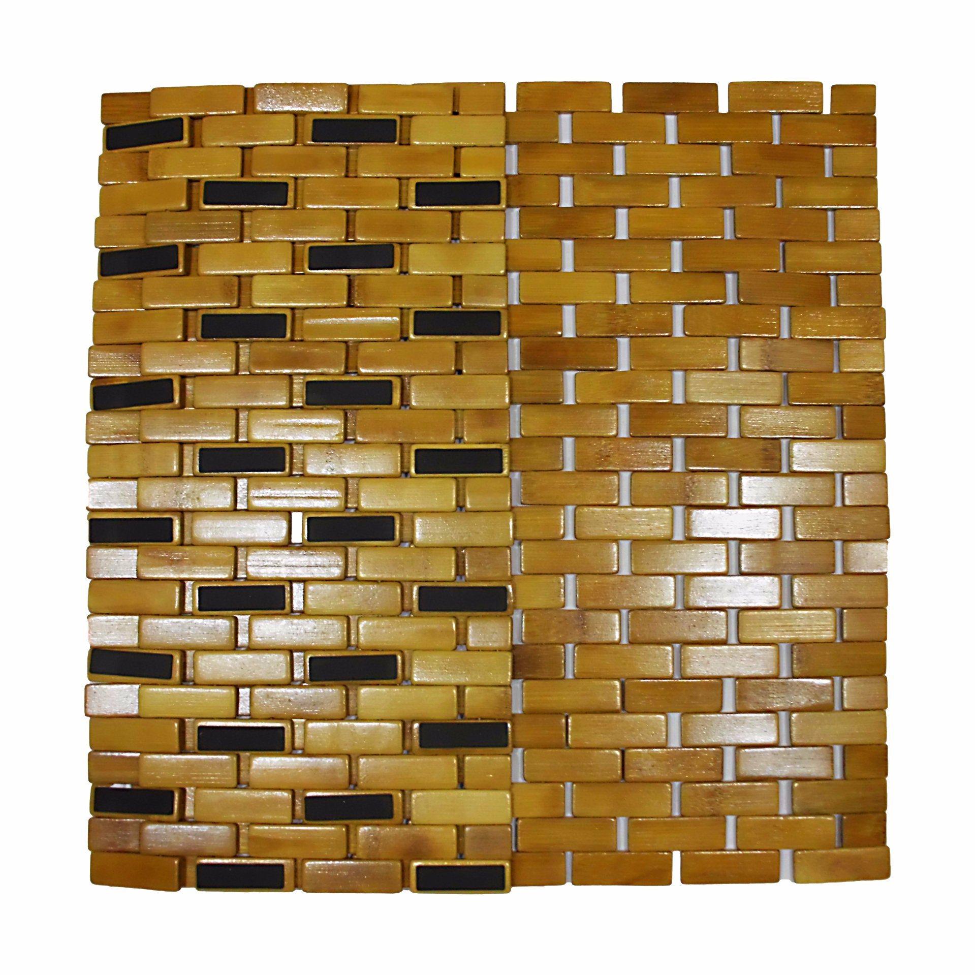 Natural Bamboo Block Bathtub Mat for Bathroom & Flooring