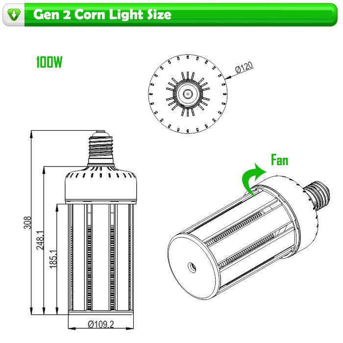125lm/W E39/E40 80W/100W/120W LED Corn Light