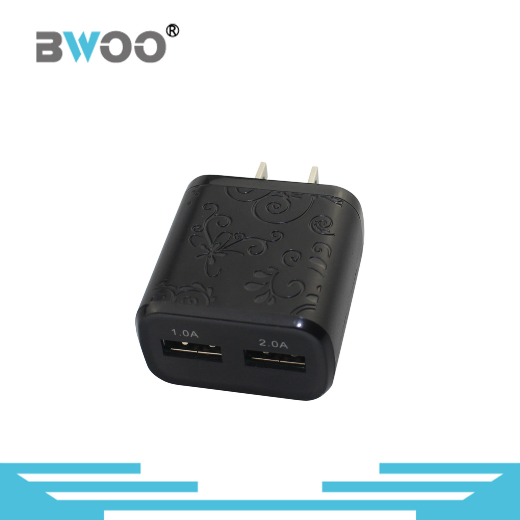 Portable Dual USB Wall Charger with Over-Current Protection
