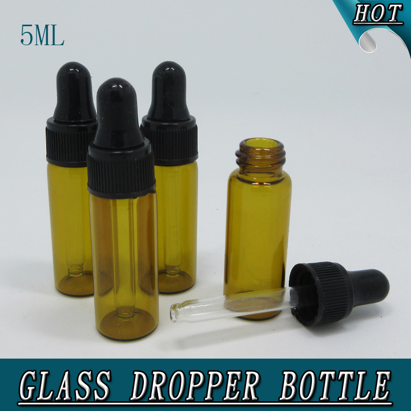 0.5oz 5ml Mini Amber Glass Bottle with Dropper Tubular Glass Vial