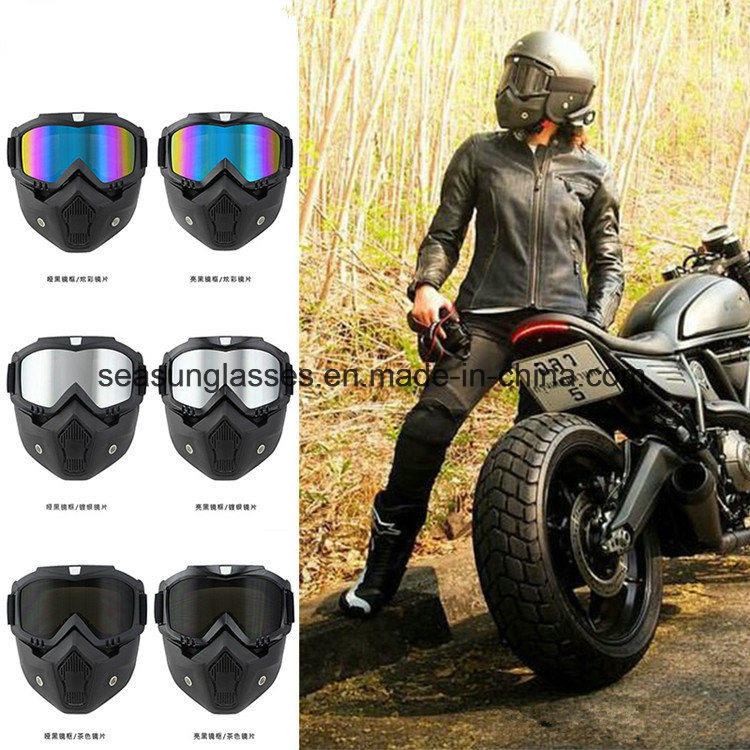 Men Women Moto Motocross Goggles Modular Mask Removable Goggles and Mouth Filter for Modular Open Face Motorcycle Helmet