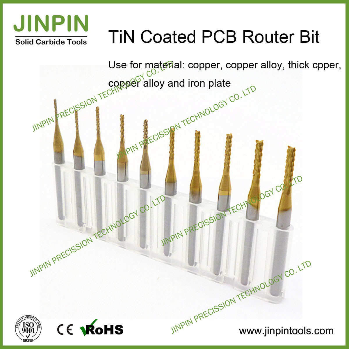 Excellent Solid Carbide Tin Coated PCB Router Bit