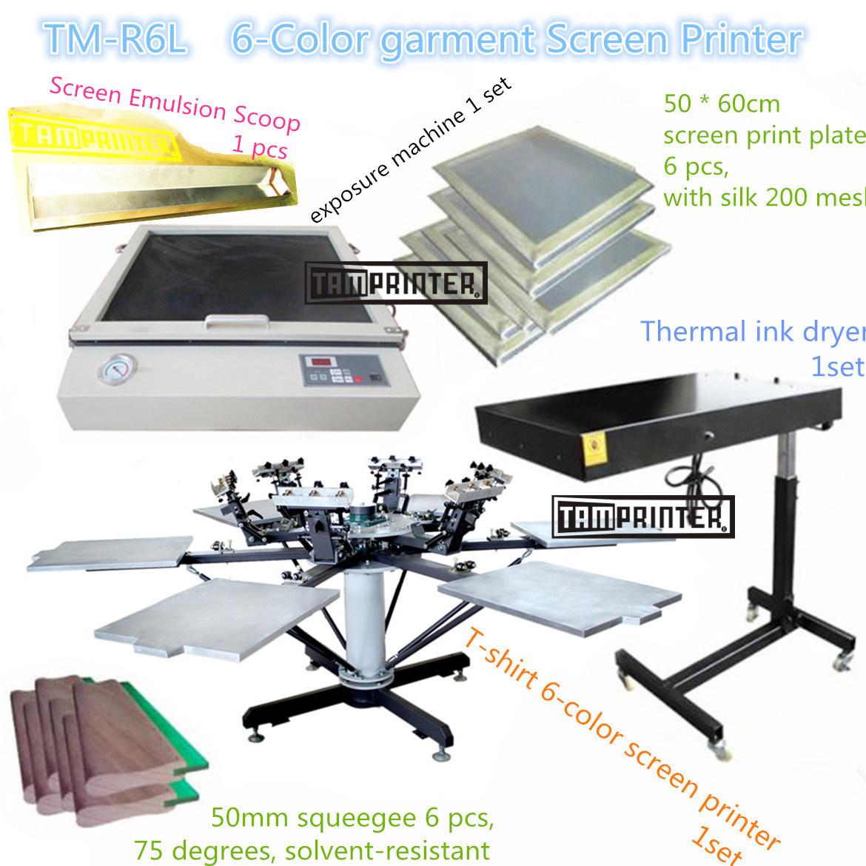 TM-R6k Hot Sale 6-Color Manual T-Shirt Textile Screen Printing Machine