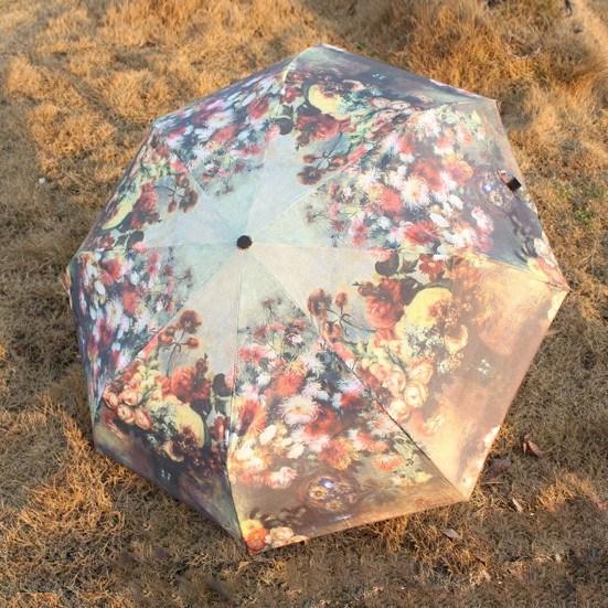 Flower Printing 3-Folding Umbrella (BD-24)