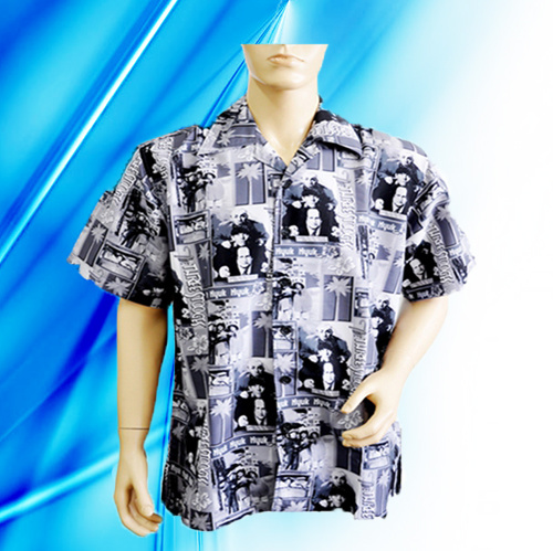 100% Polyester Man′s Short Sleeve Camp Shirt