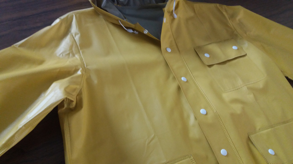 100%PVC Long Yellow Men′ S Raincoat