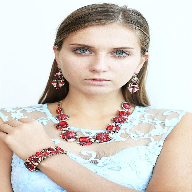 New Item Resin Acrylic Flower Fashion Jewellery Earring Bracelet Necklace Fashion Jewelry Set