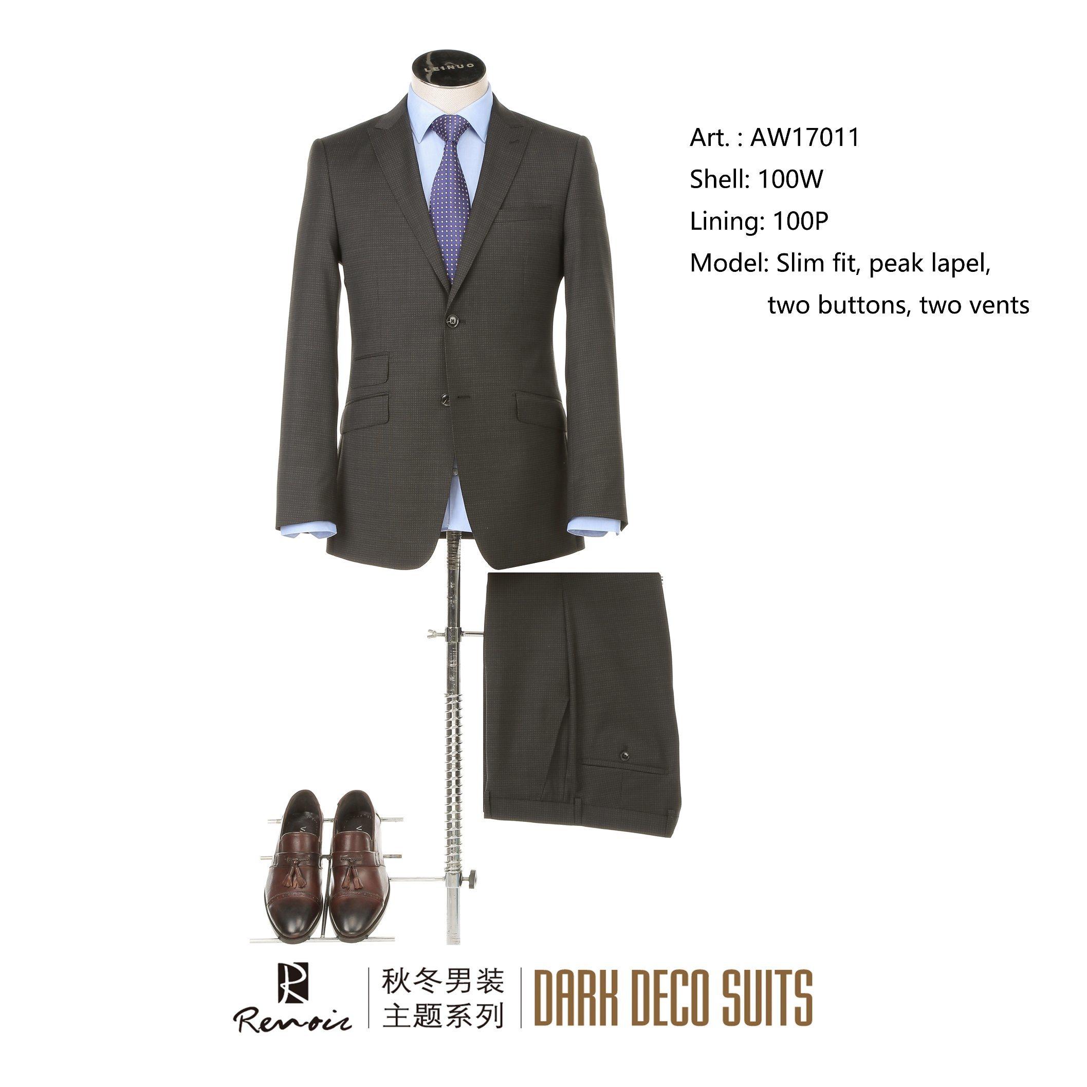 OEM Peak Lapel Wool Slim Fit Men′s Business Suit