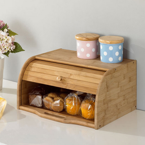 Natural bamboo bread box with lid for kitchen use