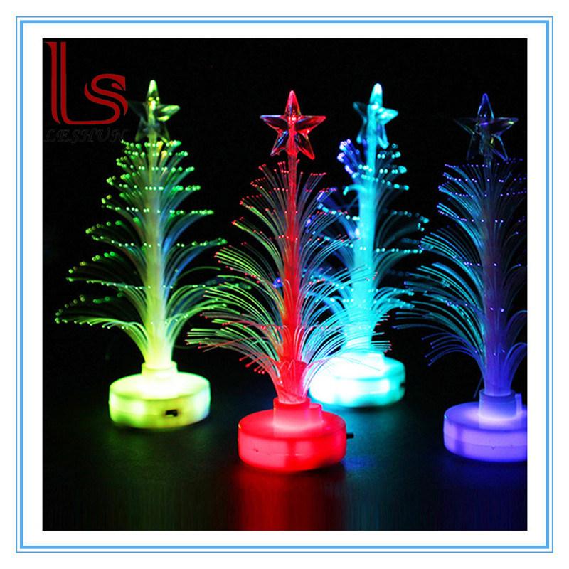 Christmas Ornaments 12 Cm Transparent Optical Fiber Light-Emitting LED Mini Small Christmas Tree