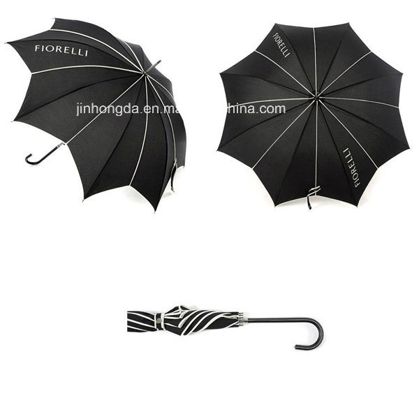 Logo Printing Black Leaf Shape Canopy Straight Umbrella (YSC0007)