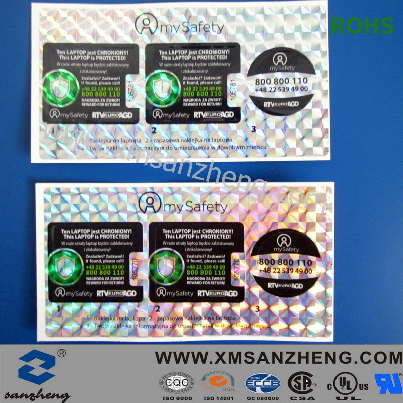 Printed Hologram Adhesive Label Sticker with Serial Number