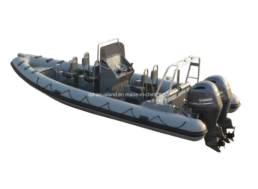 China Aqualand 25feet 7.5m Rigid Inflatable Patrol Boat/Fiberglass Rib Rescue Boat (RIB750B)