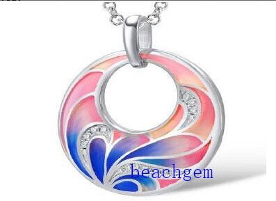 fashion Epoxy Resin Flower Sterling Silver Jewelry Pendant (P308392)