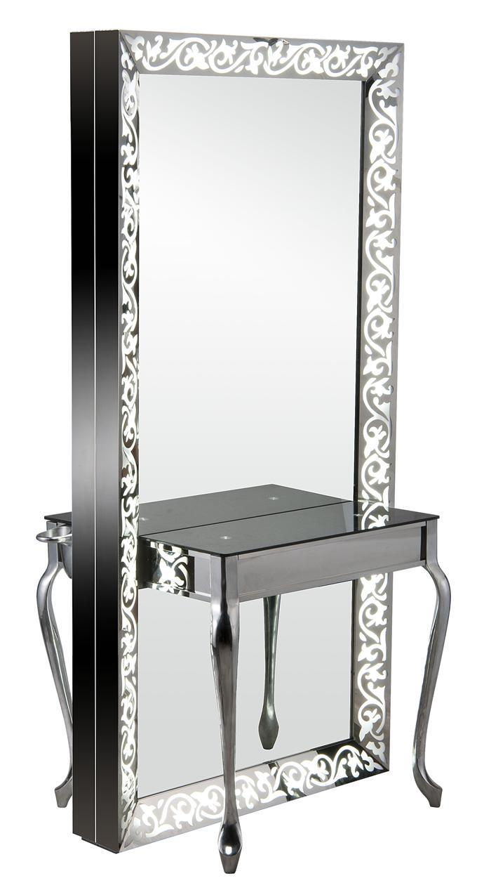 Carving Lighted Full-Length Double Sided Salon Styling Mirror Station (MY-B050)