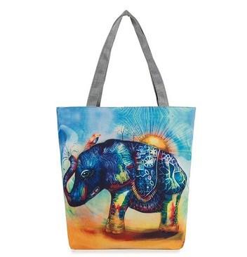 an Elephant Print Exotic Folk Style Canvas Bag (LDO-01649)
