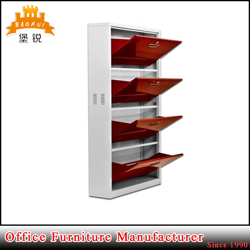 Kd Structure Steel Furniture 4 Drawer Layer Metal Shoe Cabinet Rack