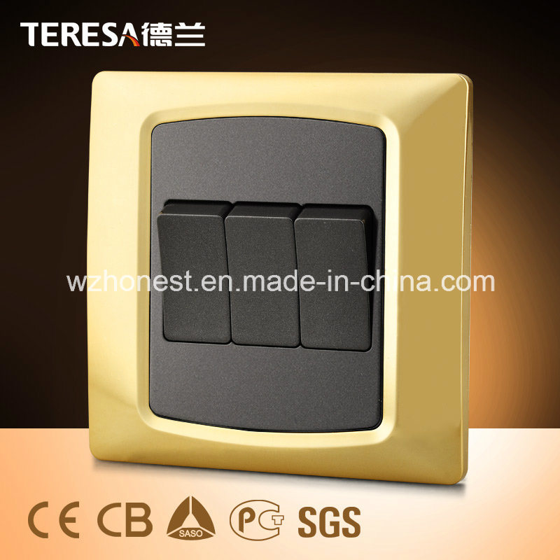 3gang 1way Wall Switch 16A