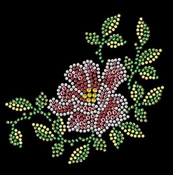 Beautiful Flower Rhinestone Motif Design