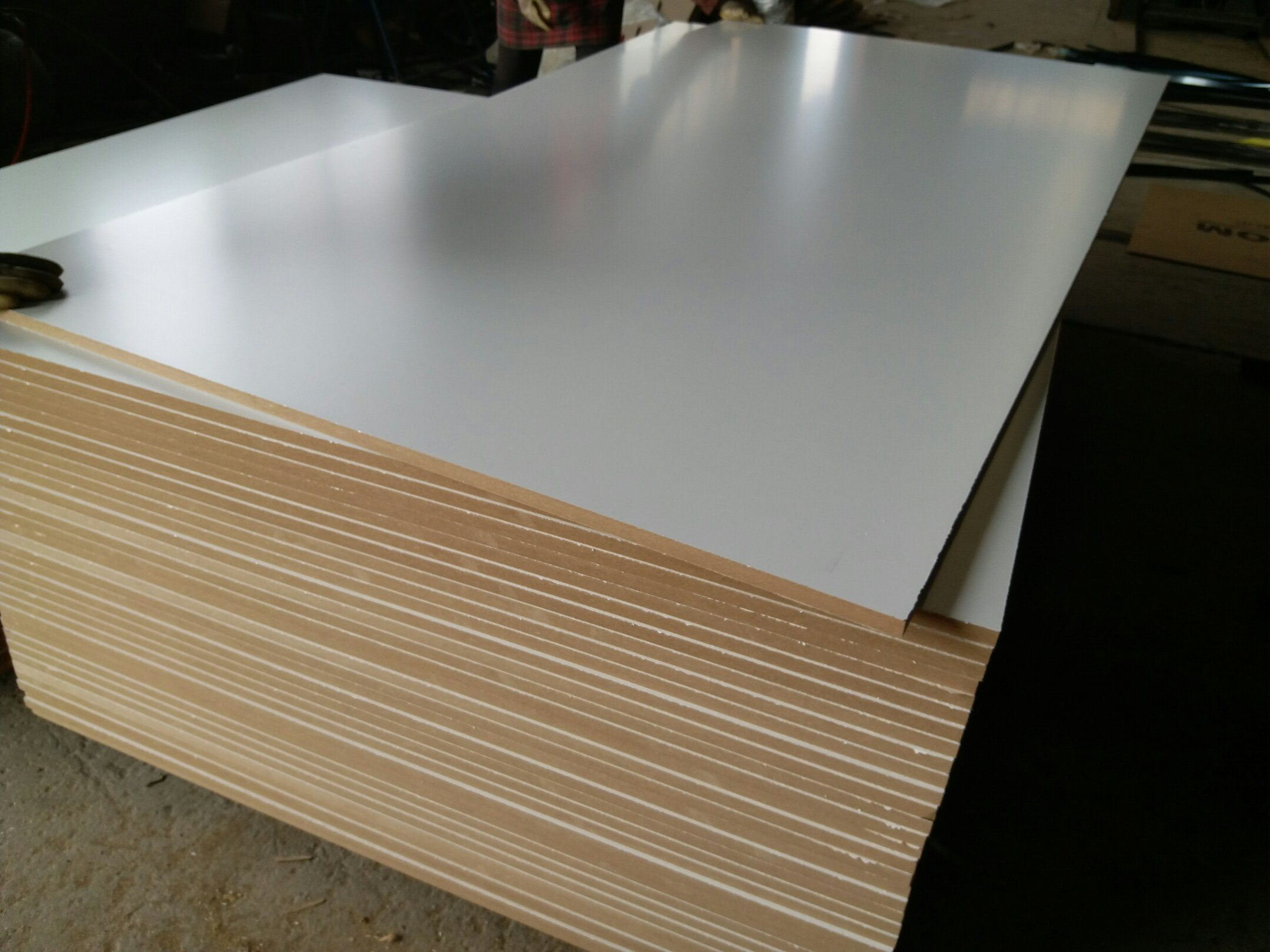 MDF with Melamine Face and Back, Warm White Color, Density: 720kgs