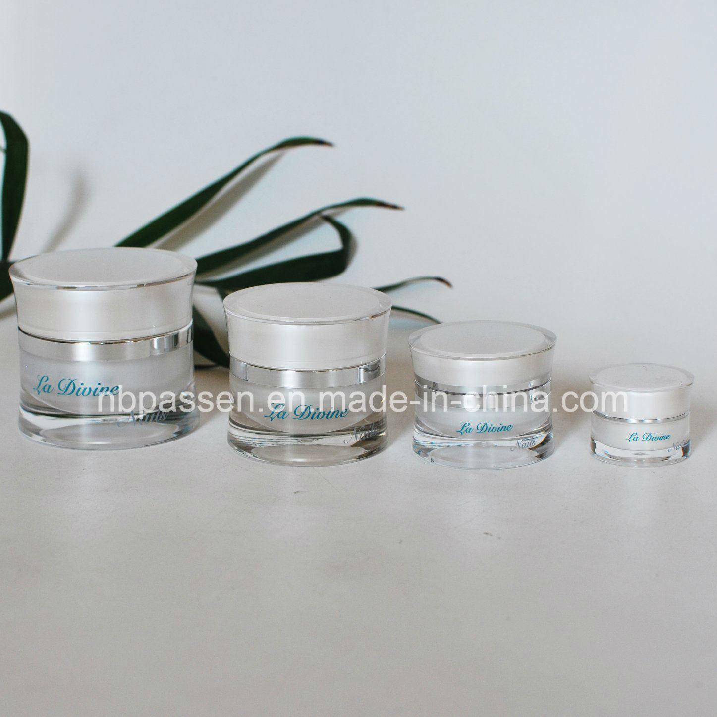New 5/15/30/50g Pearl White Acrylic Waist Cream Jar for Cosmetics (PPC-NEW-113)