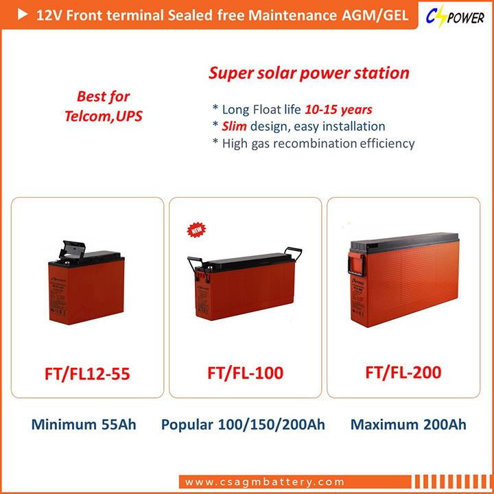 FL12-200 12V200ah Front Terminal Solar Gel Battery with 3 Years Free Replace Warranty