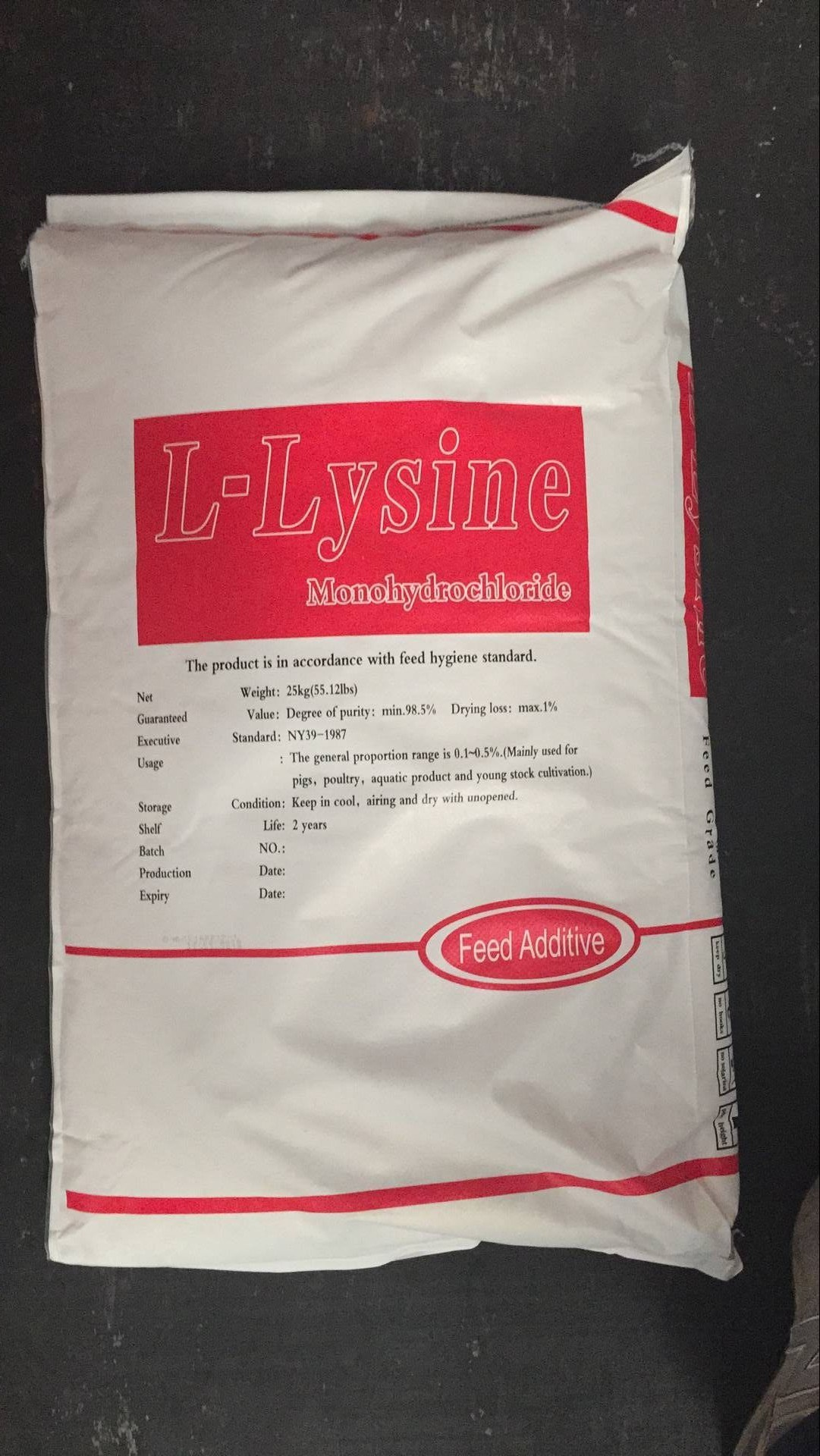 Lysine 98.5% Min Feed Additives / Lysine Content/ High Quality Lysine