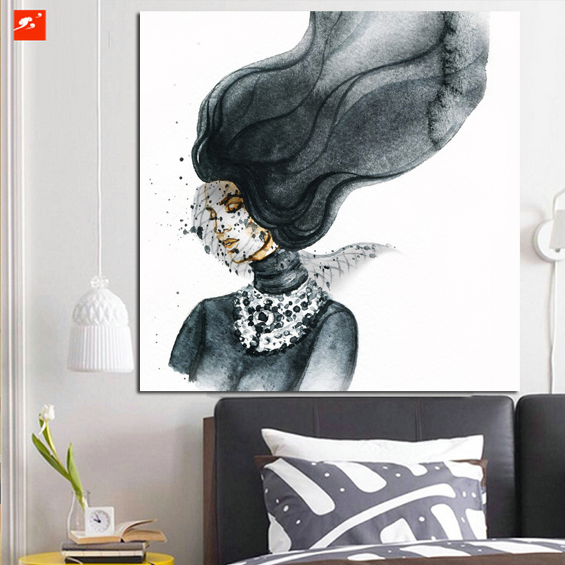 Cartoon Mask Woman Watercolor Art Print