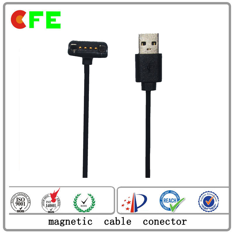 4pin Pogo Pin Magnet Connector with USB Cable Factory