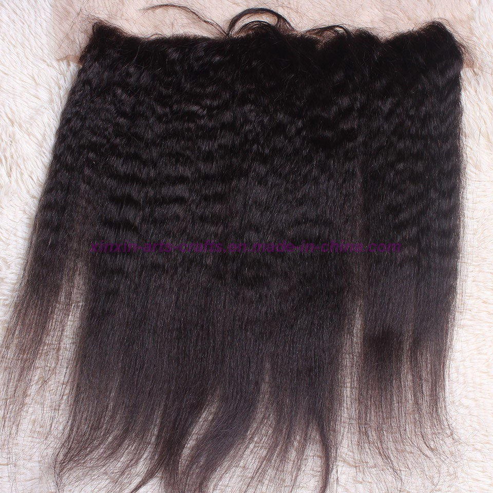 8A Grade 13X4 Malaysian Kinky Straight Lace Frontal Closure Bleached Knots, Free 3 Part Kinky Straight Frontal