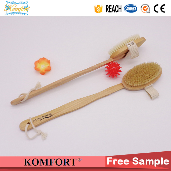 Wooden Bath Wash Bristle Exfoliating Back Scrub Body Brush