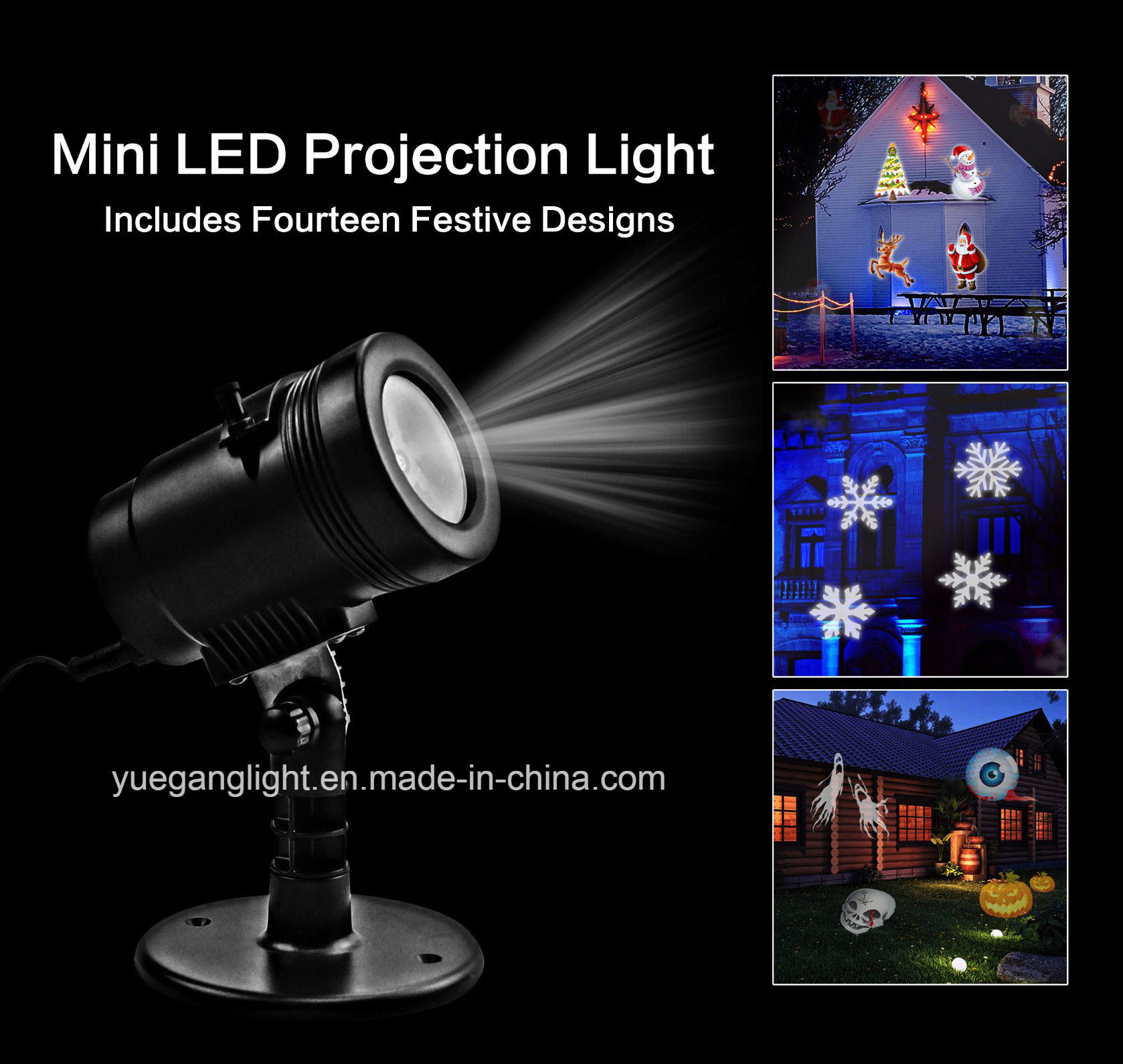 IP65 UL Ce LED 14 Film Slides Detachable Halloween Christmas Projector Light