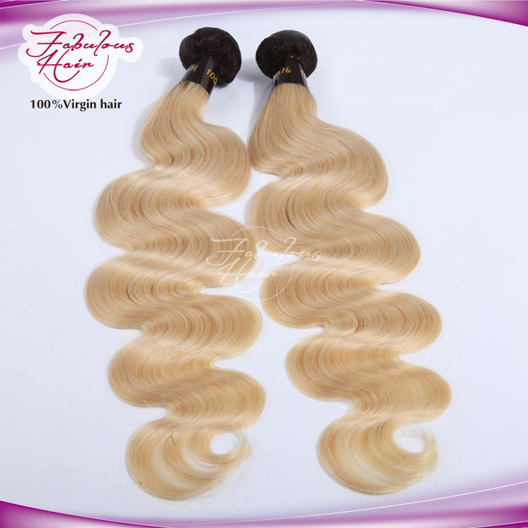 Top Black Two Tone Blonde Color Human Hair Virgin Blonde Ombre Hair