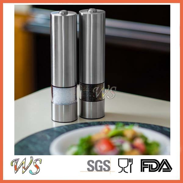 Wsymqly013 Battery Powered Brushed Stainless Steel Pepper Grinder Spice Mill
