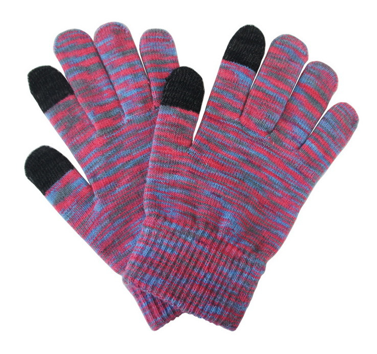 Colorful Touch Screen Jacquard Gloves Knitted Gloves Acrylic Touch Gloves