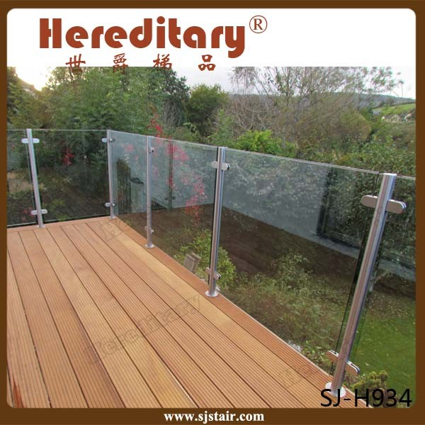 Exterior 304 Stainless Steel Balcony Glass Railing/ Inox Balcony Fence Glass Balustrade