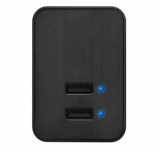 Black Adaptive Dual USB Phone Charger with UK EU Plug