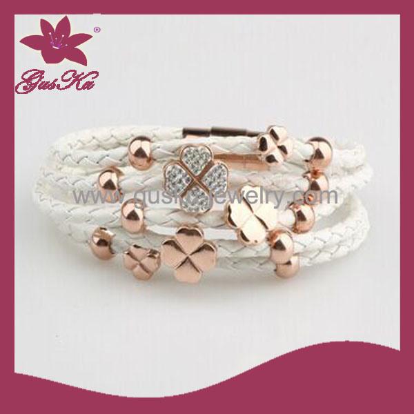 Lady Leather Pendant Bracelet Jewelry (2015 Stlb-050)