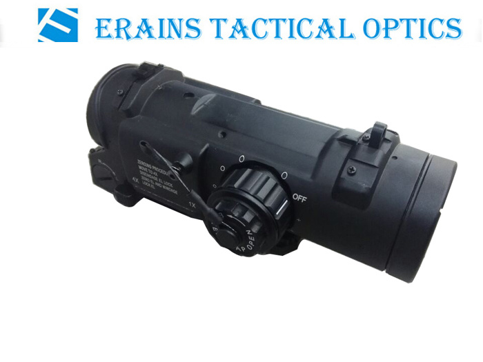 Dr1-4X Style Maginification Adjustable Military Standard Tactical Red Green Illuminated Reticle Rifle Scope Red DOT Sight