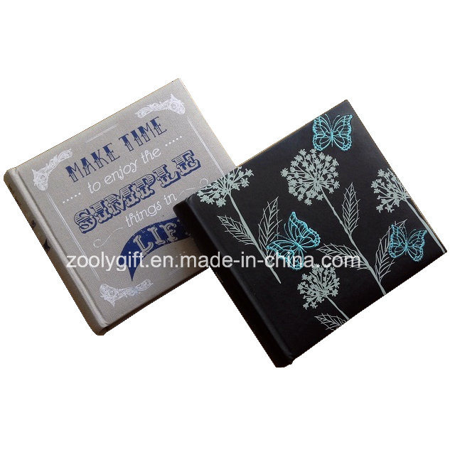 Customized Design Printing Linen Fabric Photo Album Embroidery Black PU Leather Photo Album