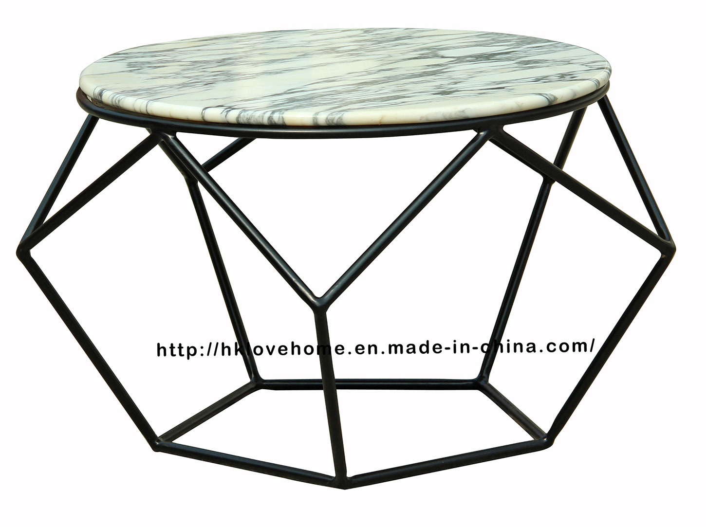 Morden Dining Coffee Metal Wire Wooden Marble Top Table