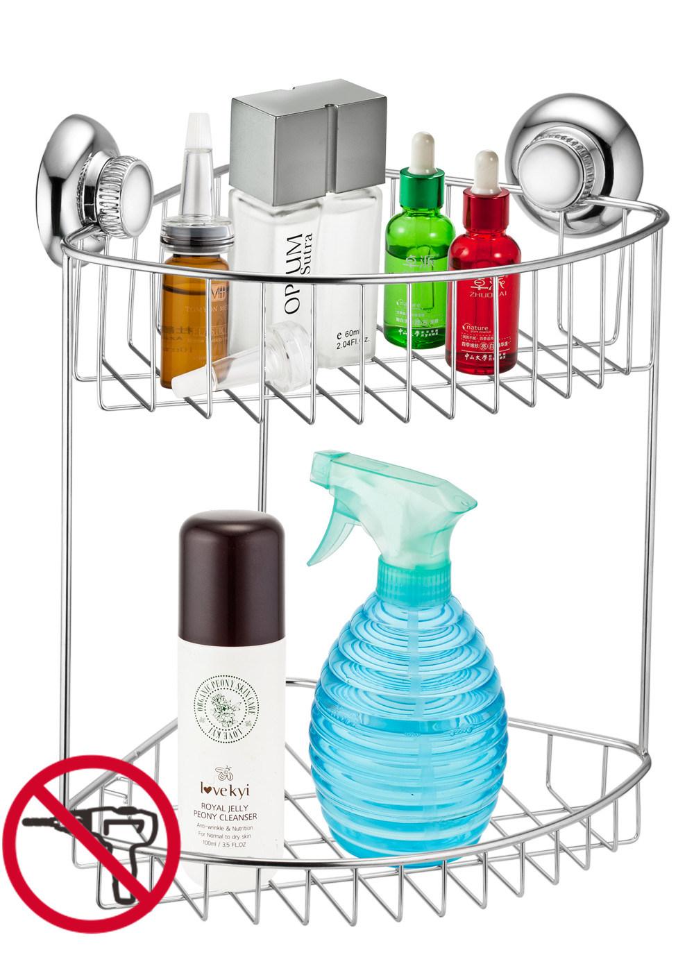 SUS304 Suction Bathroom Shower Corner Storage Shelves for Soap Shampoo Lotion Accessories