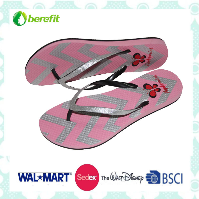 PVC Straps and EVA Sole with Glitter Decoration, Womens′ Slippers