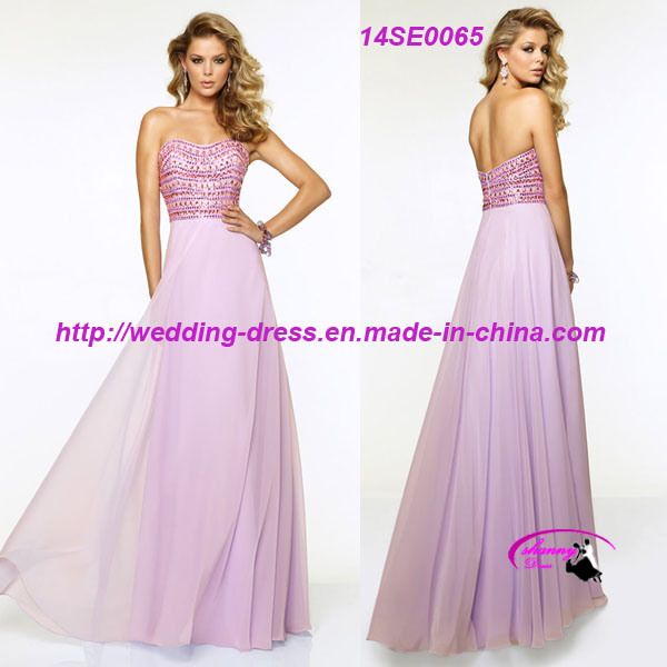 New Empire Chiffon Evening Prom Gowns with Beading