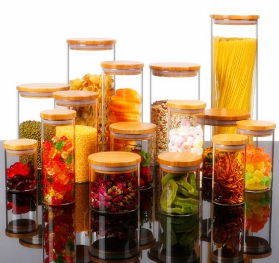 400ml Bamboo Lid Borosilicate Glass Food Storage Jar