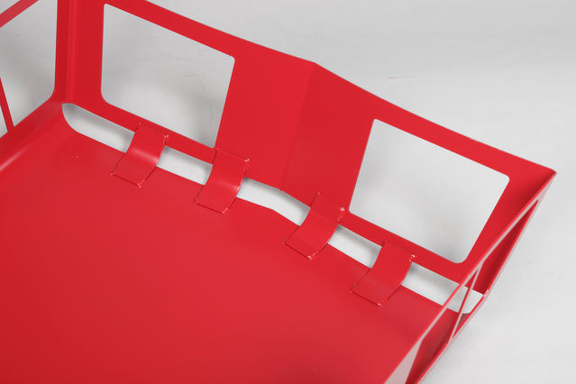 Custom Aluminum Stamped Parts, with Red Powder Coating, RoHS Compliant
